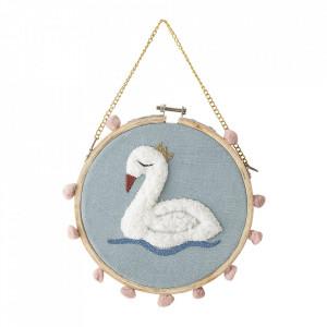 Decoratiune multicolora din bumbac si lemn pentru perete 20 cm Swan Bloomingville Mini