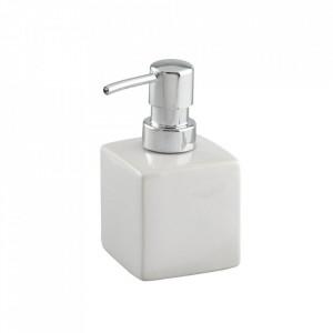 Dispenser alb/argintiu din ceramica 240 ml Square Soap Wenko
