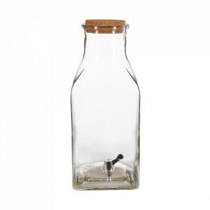 Dozator pentru bauturi transparent/maro din sticla si pluta 23x43 cm Lons LifeStyle Home Collection