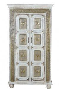 Dulap alb/bronz din lemn de mango 183 cm Craquelado Giner y Colomer