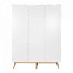 Dulap alb/maro din MDF si lemn 198 cm Trendy Three Quax