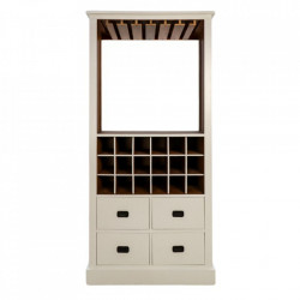 Dulapior cu suport pentru sticle alb/maro din lemn HSM Collection