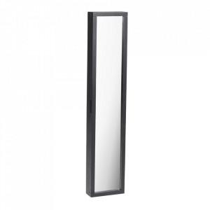 Dulapior pentru chei cu oglinda negru din lemn de stejar si metal Confetti Rowico Home