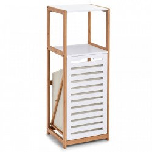 Etajera alba/maro cu cos rufe din lemn si MDF 98 cm Floor Shelf Laundry Bin Zeller