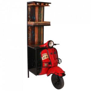 Etajera cu suport pentru sticle rosie/maro din metal si lemn 190 cm Vespa Sit Moebel
