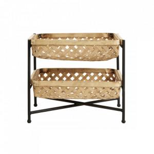 Etajera maro/neagra din bambus si fier 28,5 cm Bamboo Baskets Nordal