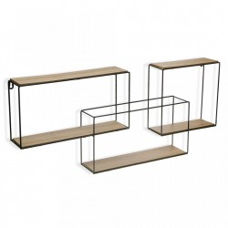 Etajera neagra/maro din metal si lemn 33 cm Wall Shelf Big Versa Home