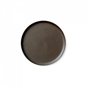 Farfurie maro din portelan 23 cm Norm Dark Glazed Menu