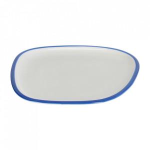 Farfurie pentru desert alba/albastra din portelan 22x24 cm Odalin Kave Home