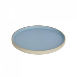 Farfurie pentru desert gri/albastra din portelan 21 cm Midori Kave Home