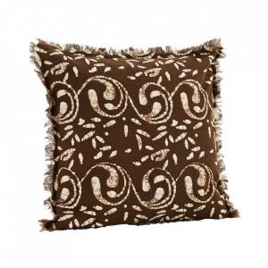 Fata de perna maro ciocolata/alb antic din bumbac 50x50 cm Elvis Madam Stoltz