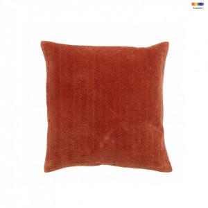 Fata de perna patrata maro din catifea si poliester 48x48 cm Fine Lines Rust Nordal