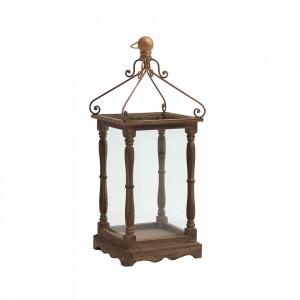 Felinar maro/transparent din lemn si sticla 70 cm Lara Vical Home