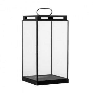 Felinar negru/transparent din metal si sticla 34 cm Kriss Bloomingville
