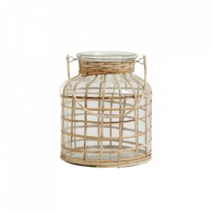 Felinar transparent/maro din sticla si bambus 21 cm Bamboo Candle Medium Nordal