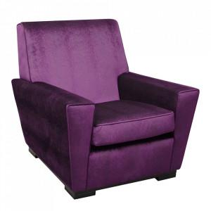Fotoliu violet din poliester si lemn Studio S Versmissen