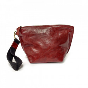 Geanta clutch rosie din piele Ariq Serax