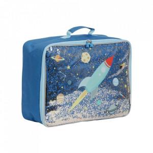 Geanta de voiaj multicolora din poliester Glitter Space A Little Lovely Company