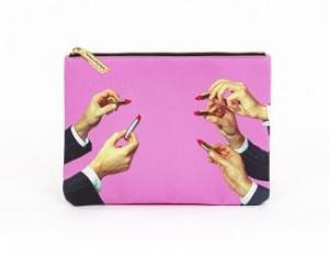Geanta multicolora din poliester si poliuretan 15,5x21 cm pentru cosmetice Lipsticks Pink Toiletpaper Seletti