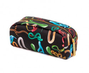 Geanta multicolora din poliester si poliuretan 9x20,5 cm pentru cosmetice Snakes Toiletpaper Seletti