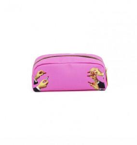 Geanta multicolora din poliuretan 9x20,5 cm pentru cosmetice Toiletpaper Lipsticks Pink Seletti