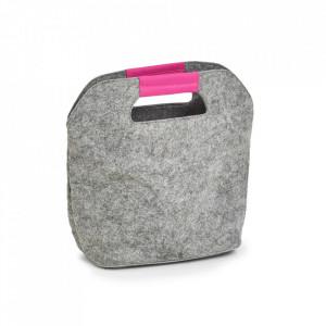 Geanta termoizolanta gri/roz din fetru 24x28 cm Cooler Bag Zeller