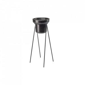 Ghiveci cu suport negru din terrazzo si otel 60 cm Henri Tall Bolia