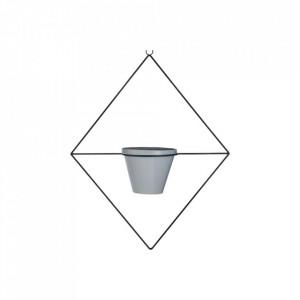 Ghiveci cu suport suspendabil gri/negru din ceramica si otel 58,2 cm Fly Square Bolia