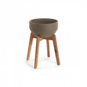 Ghiveci gri/maro cu suport din ceramica si lemn 46 cm Subject Kave Home
