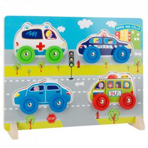 Joc tip puzzle 7 piese din lemn si plastic Cars Small Foot