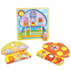 Joc tip puzzle din lemn Mushroom House Small Foot