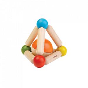 Jucarie multicolora din lemn Triangle Clutching Plan Toys