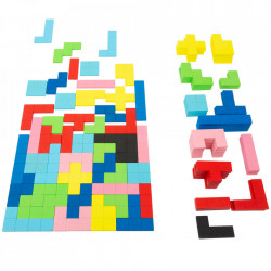 Jucatie tip puzzle 114 piese multicolore din MDF si pietra Tetris Small Foot