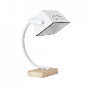 Lampa birou alba/maro din metal si lemn 39 cm Davis Brilliant