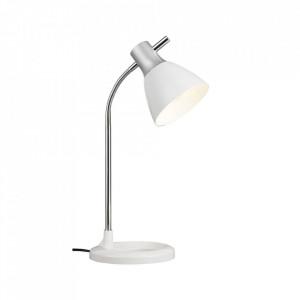 Lampa birou argintie/alba din metal si plastic 52 cm Jan Brilliant