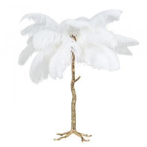 Lampadar alb/auriu din pene si cupru cu 3 becuri 80 cm Upanova Richmond Interiors