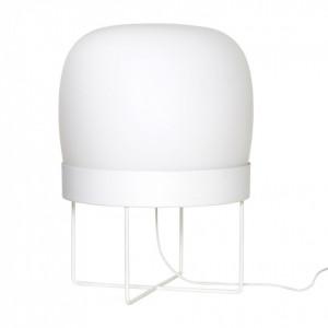 Lampadar alb din metal si sticla mata 55 cm Round Hubsch
