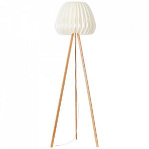 Lampadar alb/maro din plastic si lemn 155 cm Inna Brilliant