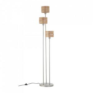 Lampadar gri nichel/maro din metal si lemn cu 3 becuri 170 cm Darill Brilliant