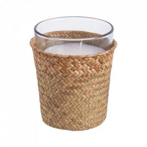 Lumanare parfumata cu suport maro din sticla 16 cm Camelia Unimasa