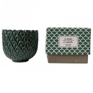 Lumanare parfumata cu suport verde din ceramica 7 cm Sanna Opjet Paris