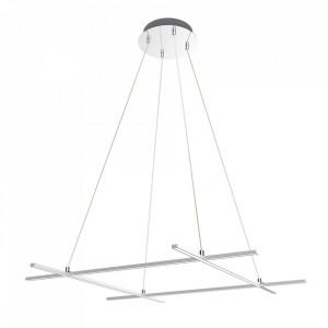 Lustra argintie din plastic acrilic si metal cu LED Andros Four Candellux