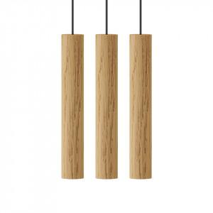 Lustra maro stejar din lemn cu 3 LED-uri Chimes Cluster Umage
