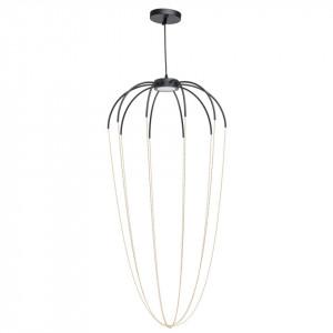 Lustra neagra/aurie din metal cu LED Loft Stella MW Glasberg