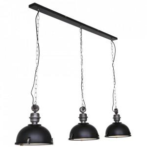 Lustra neagra din metal si sticla cu 3 becuri Bikkel Steinhauer