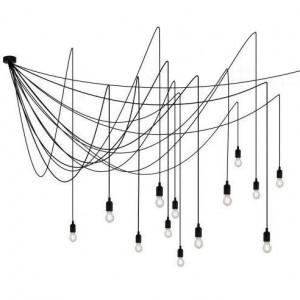 Lustra neagra din plastic si metal cu 14 LED-uri Maman Satin Seletti