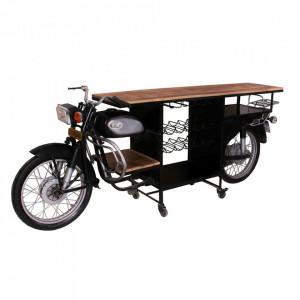 Masa bar maro/neagra din lemn si metal 75x275 cm Karen Sit Moebel