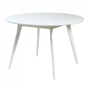 Masa dining alba din lemn si MDF 115 cm Yumi Rowico Home