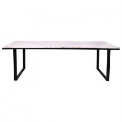 Masa dining alba/neagra din marmura si fier 94x230 cm Lexington Richmond Interiors