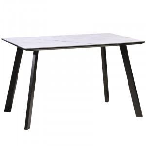 Masa dining alba/neagra din MDF si metal 80x120 cm Samuel Signal Meble